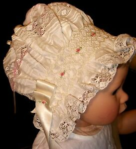 FREE SHIPPING _ NEW Smocked Baby's Bonnet - Jean Marie _ Preemie to 18 M