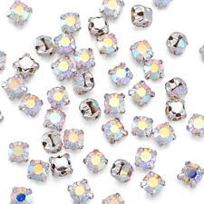 50X Square Brass Grade A Rhinestone Beads Montee beads Grade A Silver Crystal AB