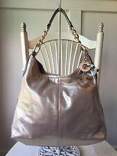COACH Peyton Metallic Rose Gold Pewter Shimmer Leather Shoulder Bag 14637 $498
