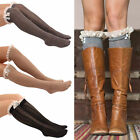 Hot Women Lace Button Trim Boot Socks Knit Knee High Crochet Leg Warmers Socks