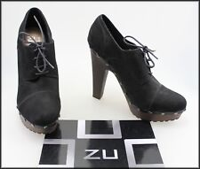 ZU WOMEN'S LACE UP HIGH HEEL SUEDE ANKLE BOOTS SHOES SIZE 10 USA 8 UK 41 EUR