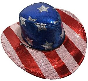 USA American Flag Cowboy Cowgirl Sequin Red White Blue Patriotic 4th of July Hat