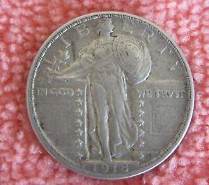 1918 - D Standing Liberty Silver Quarter Dollar , High Grade.