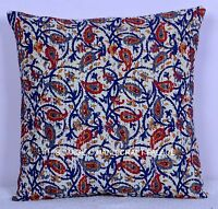 "16"" INDIAN FLORAL PRINT KANTHA PILLOW CUSHION COVER EMBROIEDERY THROW Ethnic ART"