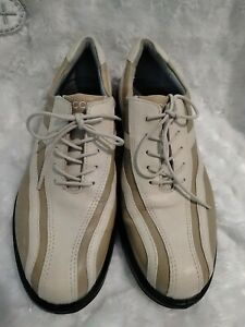 Ecco HydroMax Leather Tan Bicycle Toe Lace Up Golf Shoes Spiked Women's 8(38)