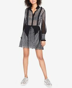 Rachel Roy Long sleeve dotted stripe Shirt dress black /white 6