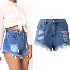 Women Vintage Ripped Womens High Waisted Denim Tassel Hole Shorts Jeans Hot Pant Blue XXXL