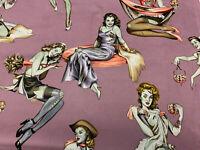18x44 Half Yard 100% Cotton Fabric Alexander Henry Pin Up Zombies Beauty & Brain