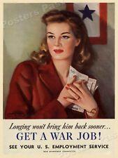 """1940s Women """"Get A War Job!"""" WWII Historic Propaganda War Poster - 18x24"""