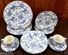 10 Piece Set Staffordshire Engraving Bird of Paradise Dinnerware Plates Blue