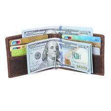 hommes authentique mince cuir pliante portefeuille Titulaire de la carte brun