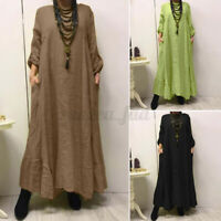 Womens Oversized Long Sleeve Casual Loose Solid Pullover Kaftan Baggy Maxi Dress