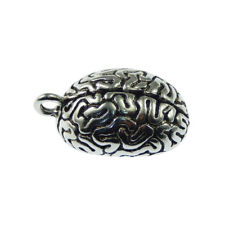 1 Piece Vintage Silver Plated Human Brain Look Charm Necklace Pendant #53495