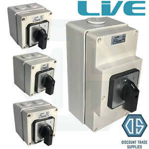Live IP66 Enclosed Changeover Switch 20 25 32 63 Amp 3 Pole Surface Mounted