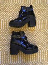 TOPSHOP Argo Black Patent Chunky Platform Boots Buckle Grunge Emo Goth Size 4/37