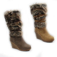 WOMENS CASUAL FUR LINED WEDGE HEEL MID CALF BOOTS LADIES SHOES NEW SIZE 3-8