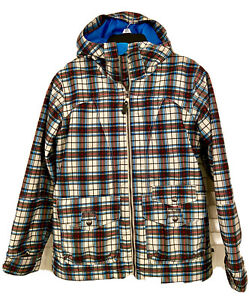 Women's Burton DryRide Snowboard Ski Jacket Plaid Blue/Red/White/Gray Large NWOT
