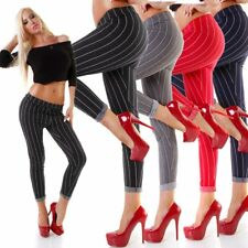 4378 Damen Hose Treggings Leggings Nadelstreifen Damenhose Stretch-Hose