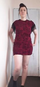 Ladies black red fringe floral size 14 chic london sexy bodycon dress new emo