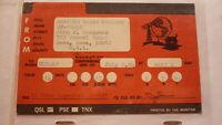 OLD VINTAGE QSL HAM RADIO CARD POSTCARD, AMES IOWA 1964