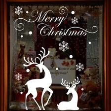 Christmas White Snowflake Wall Sticker Reindeer Decal Home Window Decor