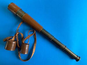 DOLLOND 55mm 4  DRAW SAFARI / STALKING / SPORTING TELESCOPE. BRASS & LEATHER