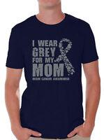 I Wear Grey For My Mom Shirt for Men Brain Cancer Awareness Grey Ribbon Shirt