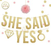 She Said Yes Banner, Engagement Bride Tribe, Hen Party,gold glitter Banner