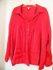 White Stag Women's Red Silky Pleated Blouse Size XXL/2X (20)Button Down