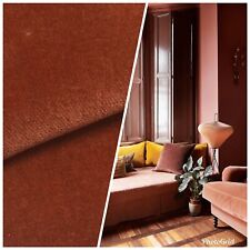 NEW Designer Soft Velvet Upholstery Fabric - Cinnamon Brown- By The Yard