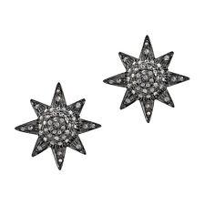 Star Design Diamond Pave Stud Earrings 14K Gold 925 Silver Jewelry Gift Women's
