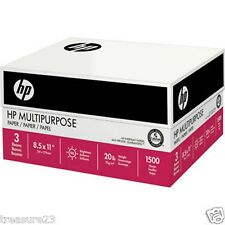 HP Multipurpose Paper 96 Brightness 20 lb 8 1/2 x 11 White 1,500 Sheet Carton