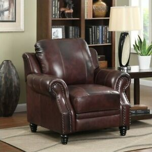 Coaster Princeton Leather Recliner with Nailhead Trim in Burgundy