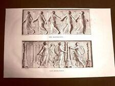 Incisione 1811 Danseuses Offrandes Musée des Antiques Scultura classica Bouillon