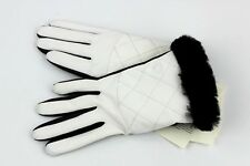 UGG QUILTED NYLON SMART GLOVES WITH FUR AUTHENTIC BLACK/WHITE 1089978 SZ S/M