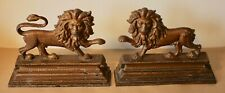 A pair of Victorian Antique Cast Iron Lion Door Stops. Over Painted.