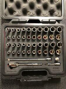 "Snap-On 1/4"" FDX METRIC SAE General Service Deep Shallow Socket Set 144YTMPBFR"