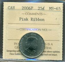 2006P Canada 25 cent Pink Ribbon ICCS MS 65