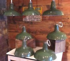 "Vtg 16"" Benjamin Industrial Porcelain Green Enamel Gas Station Barn Shade Light"