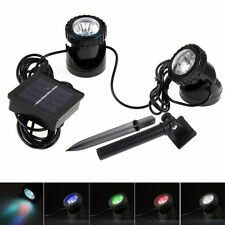 Set of 2x6 LEDs Solar Powered Spotlight Lamp Color Changing Waterproof Pool Pond