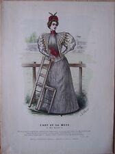 gravure ancienne mode couleur L'ART ET LA MODE XV N° 15 - Jules Hanriot