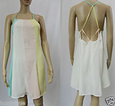 EUC Pastel Colour Shift Dress S 10 Criss Cross Back Straps Cute Carnival Chiffon