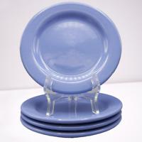 4 Hartstone Pottery Lusterware Salad Dessert Plates Perwinkle Blue Shiny Set