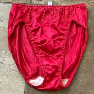 BALI Large Red Second Skin SATIN Hi Leg lace Trim at Waist Panties VINTAGE #8031