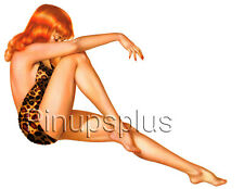 Pin-up Pinup Girl Waterslide Decal Old School Style Leopard Skin Redhead S323