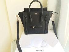 Authentic Celine Black Pebbled Leather Nano Luggage Bag