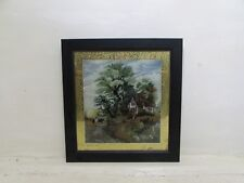 Victorian Reverse Glass Painting Depicting Horse & Cart Beside Cottage, JP 1877
