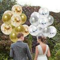 10Pc Blue Confetti Balloon Happy Birthday Ballon Gold Metal Wedding Party Decor
