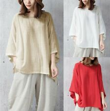 Fashion Womens Linen Loose Shirt Flax Crewneck Tops 3/4 Sleeve Casual Shirts 5XL