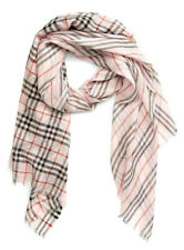 """NWT $390 Burberry Check to Stripe Alabaster Pink Silk Blend Scarf 28 1/2"""" x 86"""""""